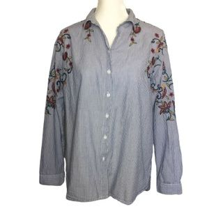 BeachLunchLounge Blue Pinstripe Embroidered Blouse